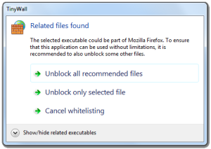 A dialog recommending related executables to whitelist